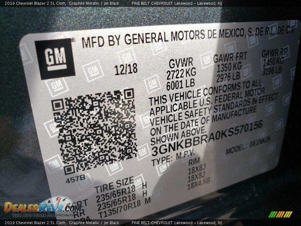 2019 Chevrolet Blazer 2.5L Cloth Graphite Metallic / Jet Black Photo #9
