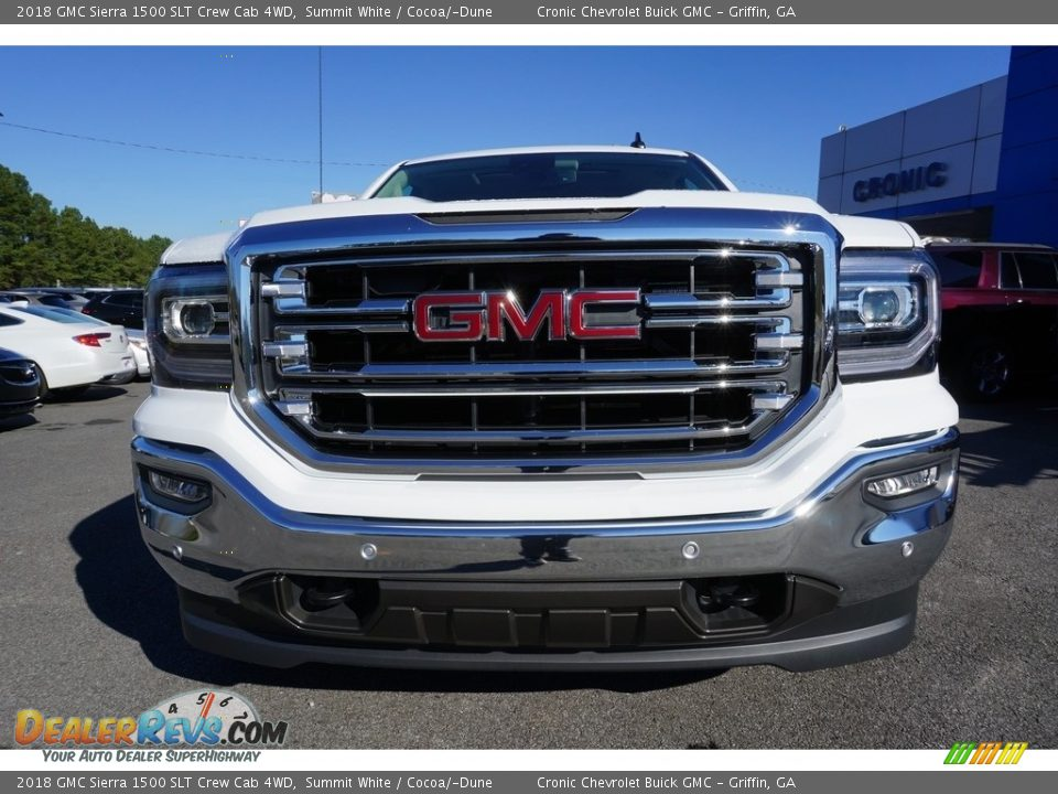 2018 GMC Sierra 1500 SLT Crew Cab 4WD Summit White / Cocoa/­Dune Photo #2