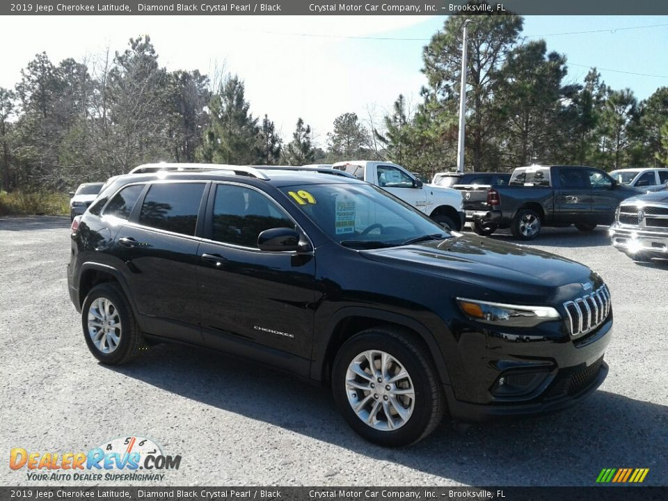 2019 Jeep Cherokee Latitude Diamond Black Crystal Pearl / Black Photo #7