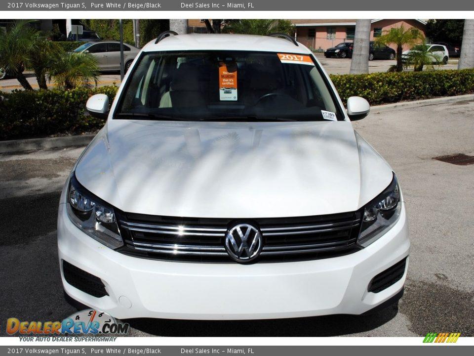 2017 Volkswagen Tiguan S Pure White / Beige/Black Photo #3