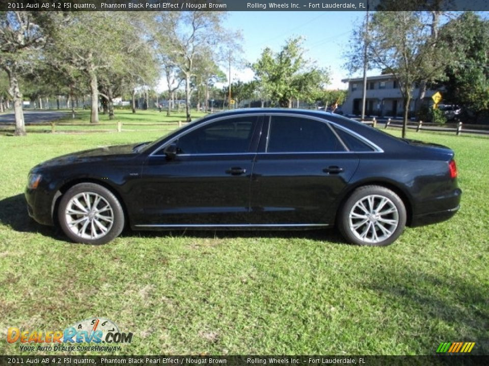 2011 Audi A8 4.2 FSI quattro Phantom Black Pearl Effect / Nougat Brown Photo #3