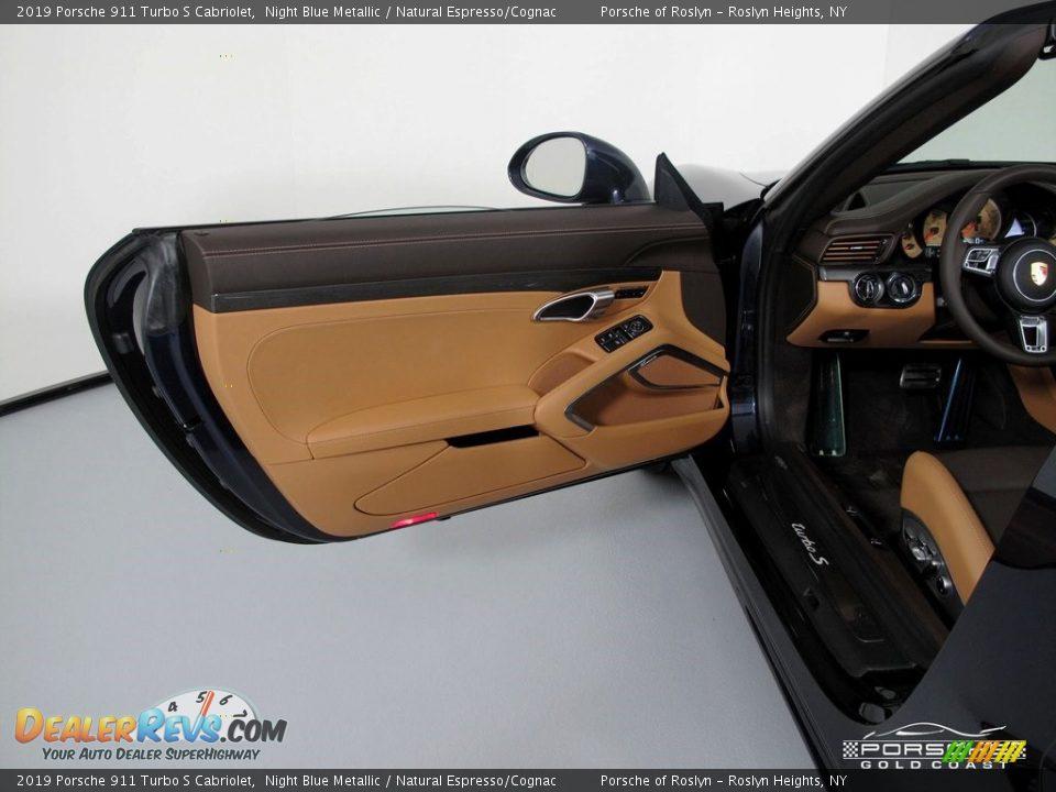2019 Porsche 911 Turbo S Cabriolet Night Blue Metallic / Natural Espresso/Cognac Photo #14