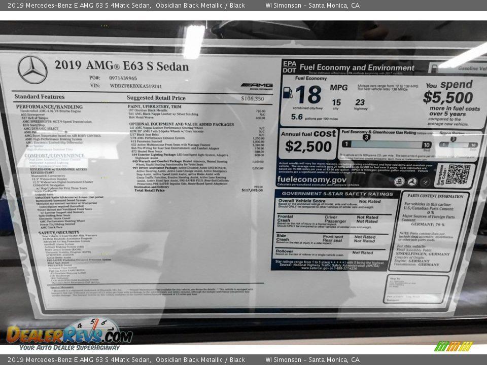 2019 Mercedes-Benz E AMG 63 S 4Matic Sedan Obsidian Black Metallic / Black Photo #10