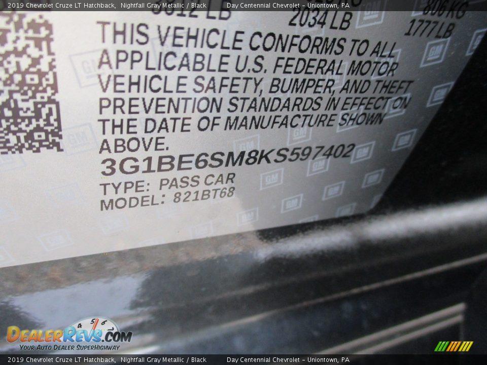 2019 Chevrolet Cruze LT Hatchback Nightfall Gray Metallic / Black Photo #15
