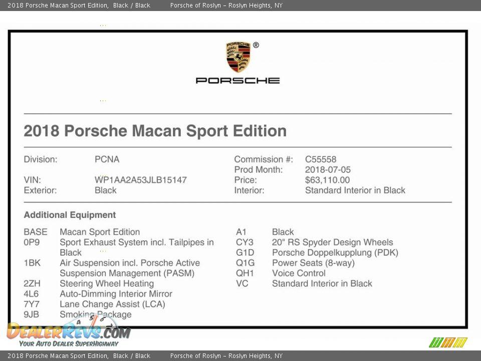 2018 Porsche Macan Sport Edition Black / Black Photo #26