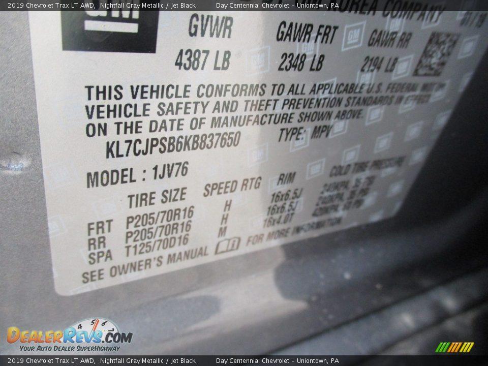 2019 Chevrolet Trax LT AWD Nightfall Gray Metallic / Jet Black Photo #14