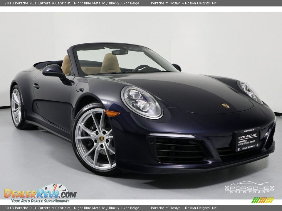 2018 Porsche 911 Carrera 4 Cabriolet Night Blue Metallic / Black/Luxor Beige Photo #31