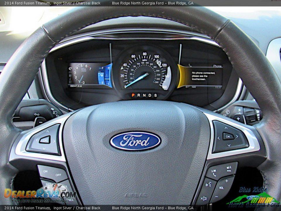 2014 Ford Fusion Titanium Ingot Silver / Charcoal Black Photo #17