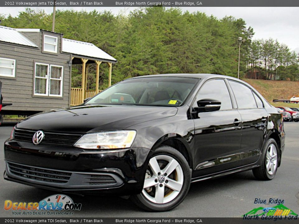 2012 Volkswagen Jetta TDI Sedan Black / Titan Black Photo #1