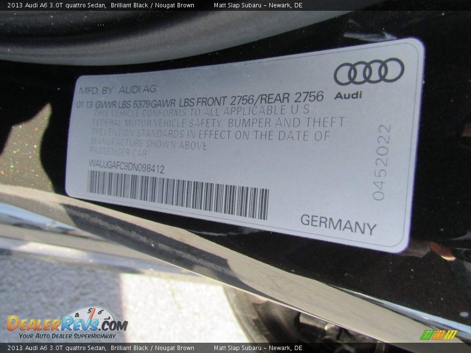 2013 Audi A6 3.0T quattro Sedan Brilliant Black / Nougat Brown Photo #31