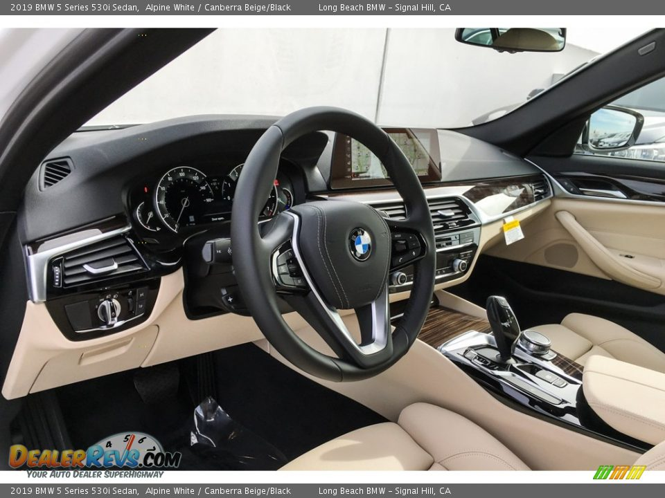 2019 BMW 5 Series 530i Sedan Alpine White / Canberra Beige/Black Photo #4