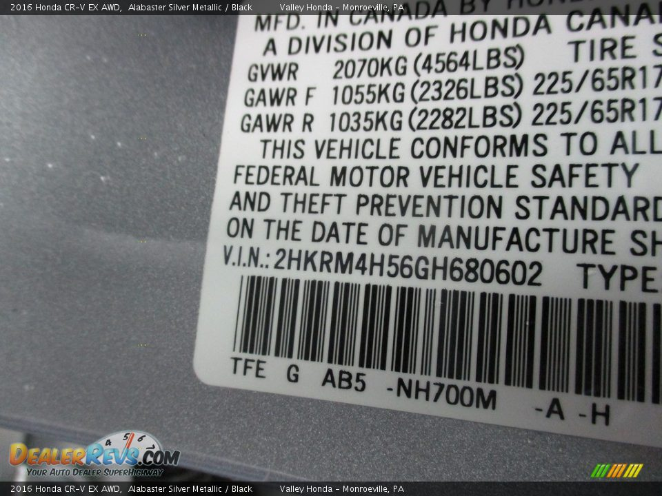 2016 Honda CR-V EX AWD Alabaster Silver Metallic / Black Photo #19