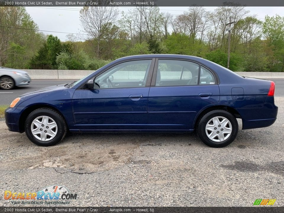 2003 Honda Civic LX Sedan Eternal Blue Pearl / Gray Photo #6