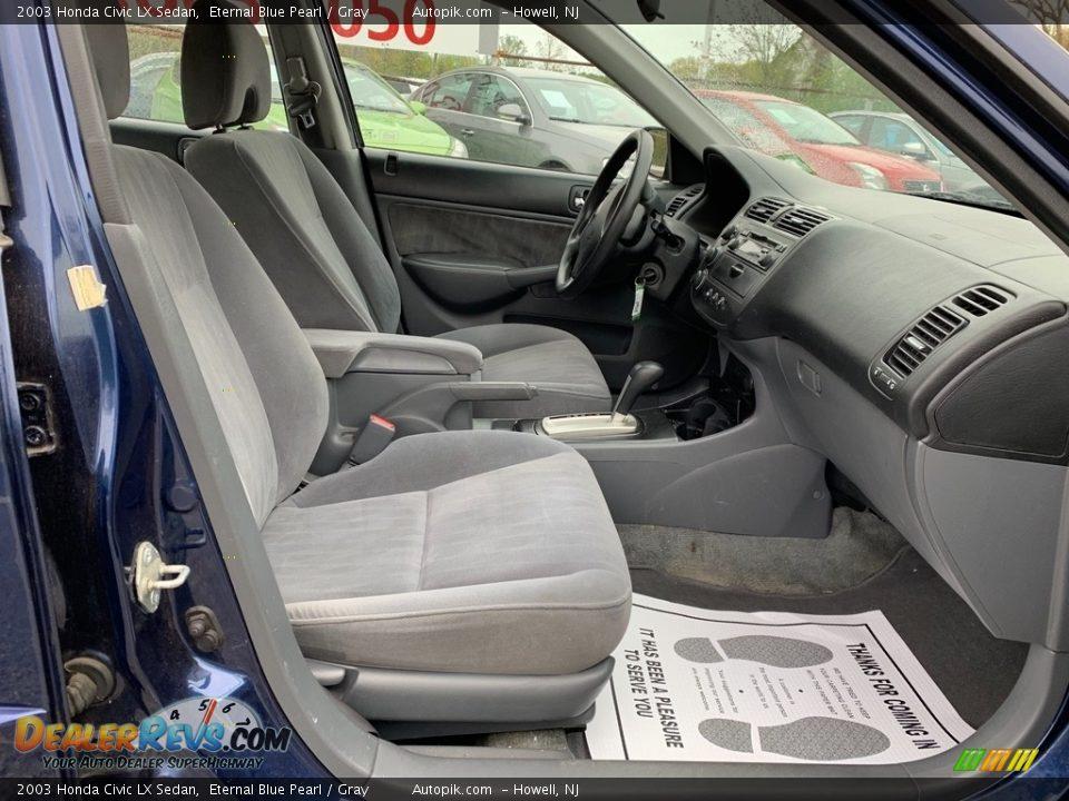 2003 Honda Civic LX Sedan Eternal Blue Pearl / Gray Photo #12
