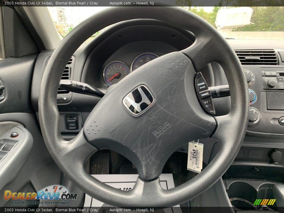 2003 Honda Civic LX Sedan Eternal Blue Pearl / Gray Photo #16