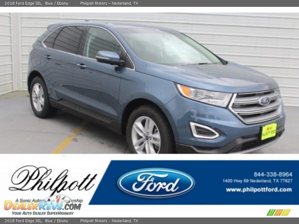 2018 Ford Edge SEL Blue / Ebony Photo #1