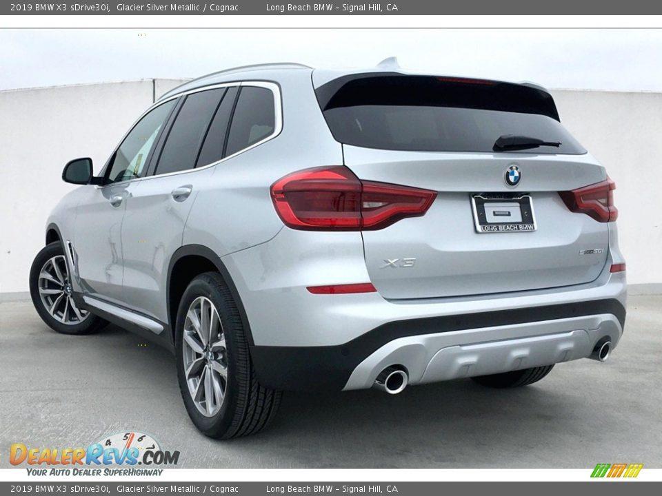 2019 BMW X3 sDrive30i Glacier Silver Metallic / Cognac Photo #3