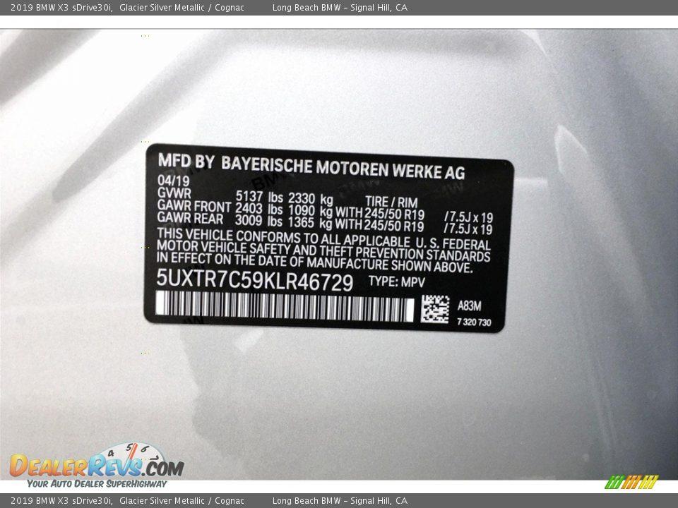 2019 BMW X3 sDrive30i Glacier Silver Metallic / Cognac Photo #8