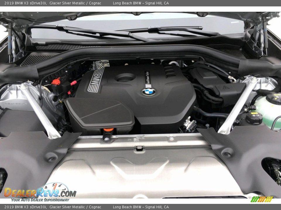 2019 BMW X3 sDrive30i Glacier Silver Metallic / Cognac Photo #9