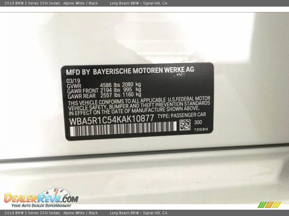 2019 BMW 3 Series 330i Sedan Alpine White / Black Photo #12