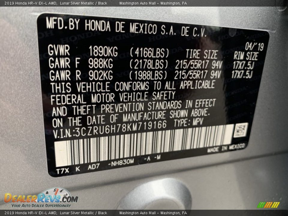 2019 Honda HR-V EX-L AWD Lunar Silver Metallic / Black Photo #14