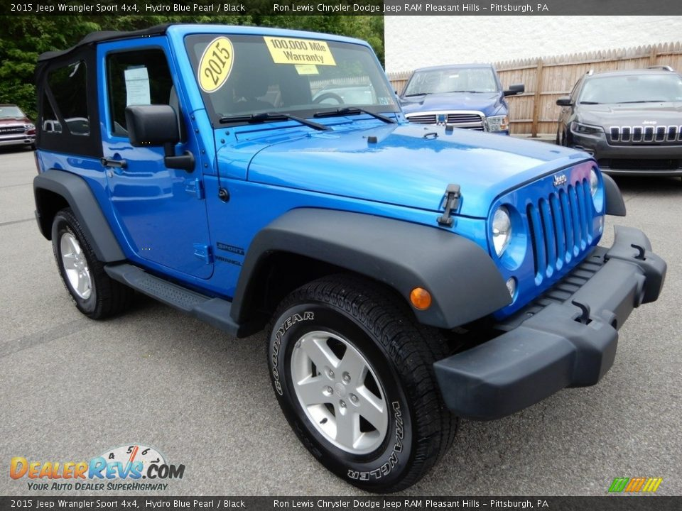 2015 Jeep Wrangler Sport 4x4 Hydro Blue Pearl / Black Photo #8