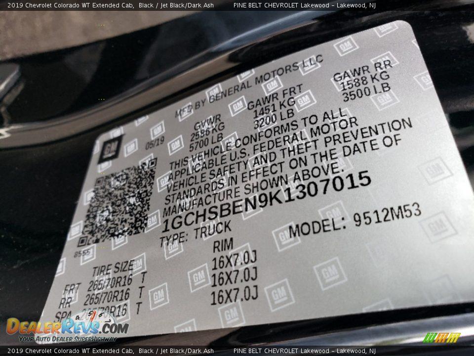 2019 Chevrolet Colorado WT Extended Cab Black / Jet Black/Dark Ash Photo #8