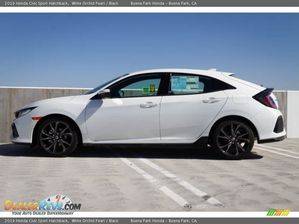 2019 Honda Civic Sport Hatchback White Orchid Pearl / Black Photo #5