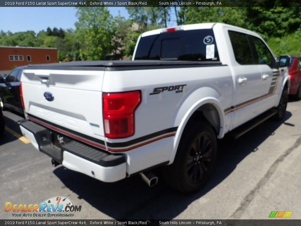 2019 Ford F150 Lariat Sport SuperCrew 4x4 Oxford White / Sport Black/Red Photo #4