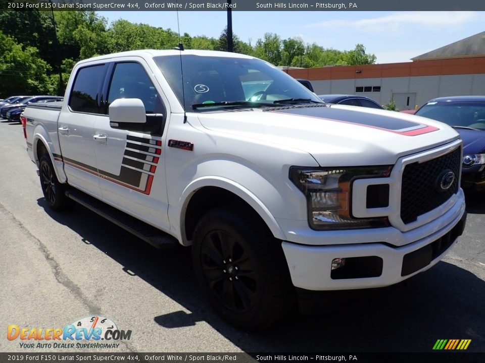 2019 Ford F150 Lariat Sport SuperCrew 4x4 Oxford White / Sport Black/Red Photo #5