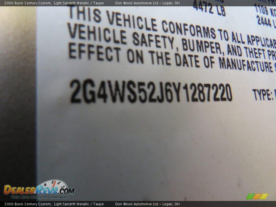 2000 Buick Century Custom Light Sandrift Metallic / Taupe Photo #31