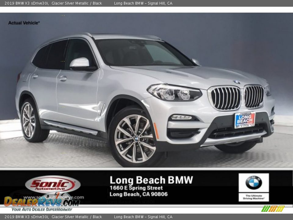 2019 BMW X3 sDrive30i Glacier Silver Metallic / Black Photo #1