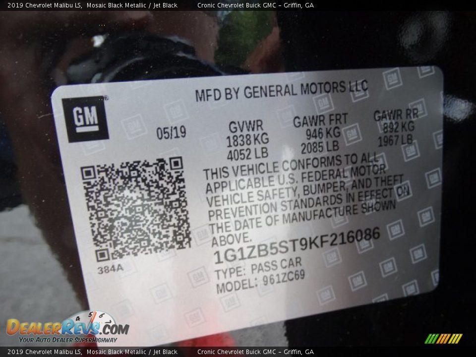 2019 Chevrolet Malibu LS Mosaic Black Metallic / Jet Black Photo #27