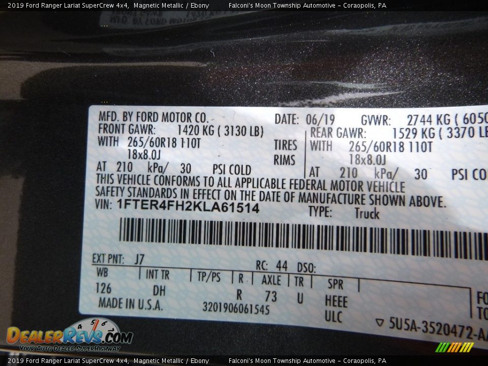 2019 Ford Ranger Lariat SuperCrew 4x4 Magnetic Metallic / Ebony Photo #12