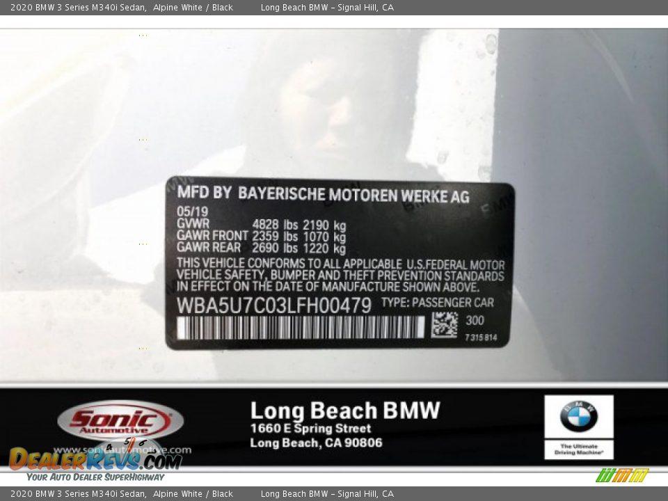 2020 BMW 3 Series M340i Sedan Alpine White / Black Photo #11