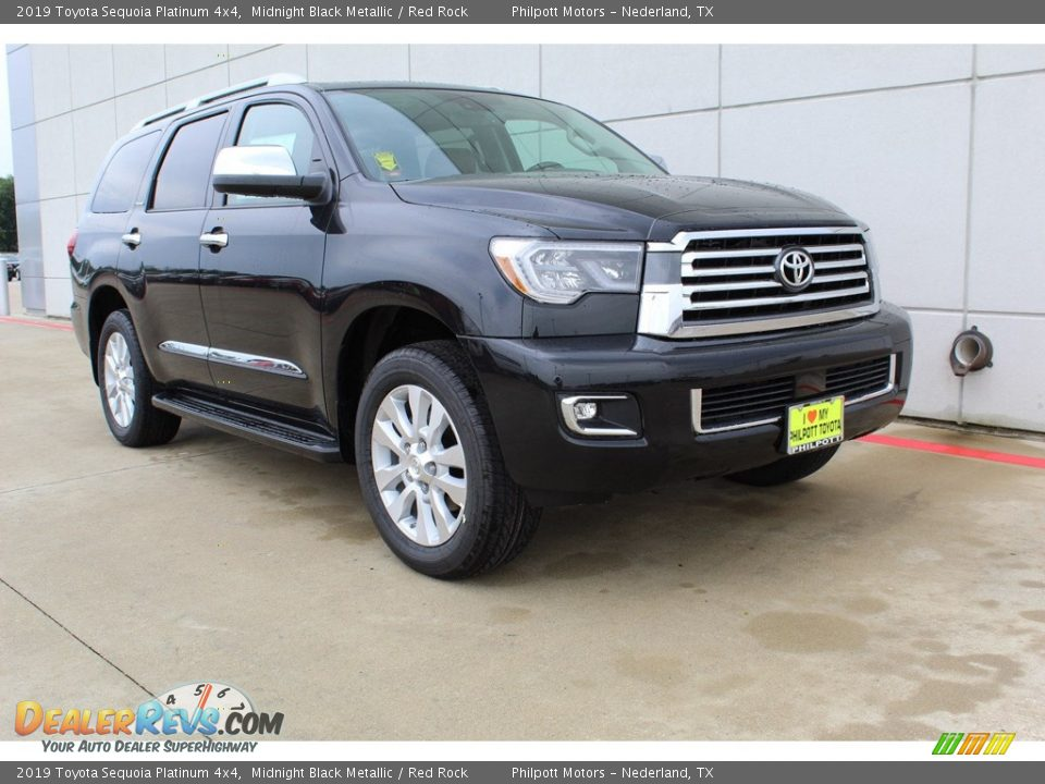 2019 Toyota Sequoia Platinum 4x4 Midnight Black Metallic / Red Rock Photo #2