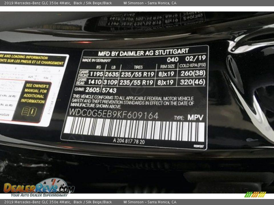 2019 Mercedes-Benz GLC 350e 4Matic Black / Silk Beige/Black Photo #11