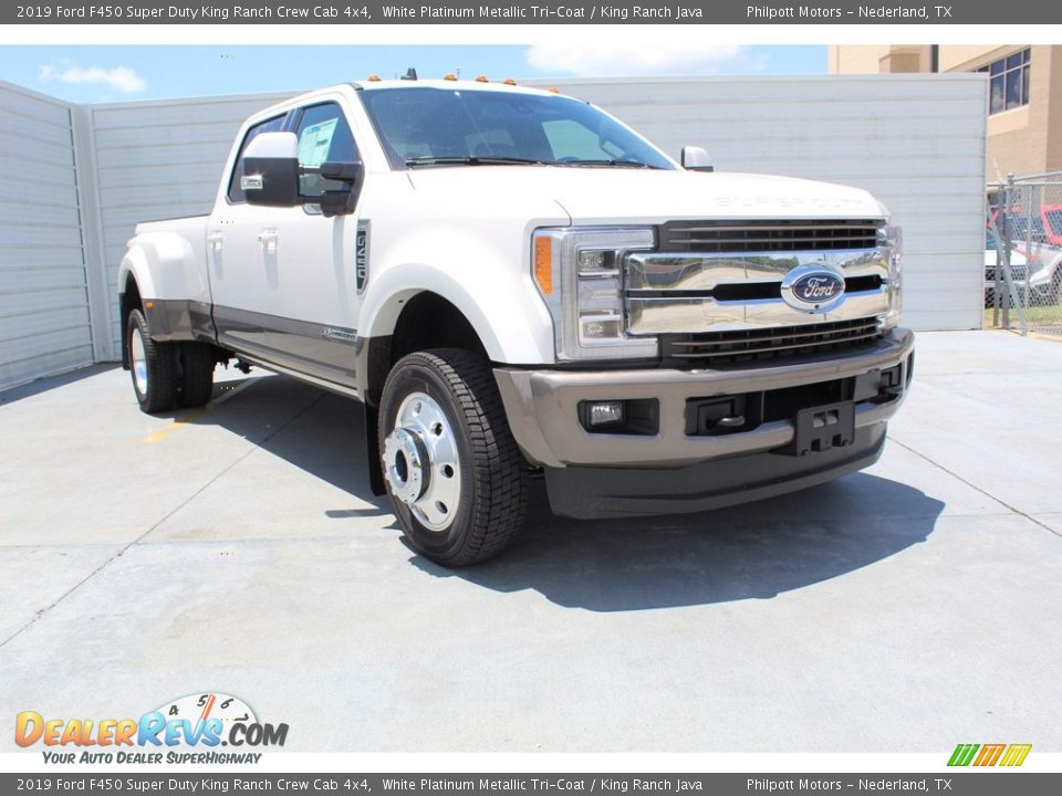 2019 Ford F450 Super Duty King Ranch Crew Cab 4x4 White Platinum Metallic Tri-Coat / King Ranch Java Photo #2