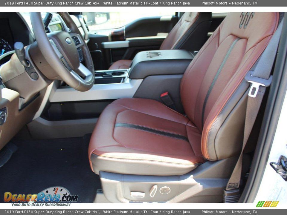 2019 Ford F450 Super Duty King Ranch Crew Cab 4x4 White Platinum Metallic Tri-Coat / King Ranch Java Photo #10