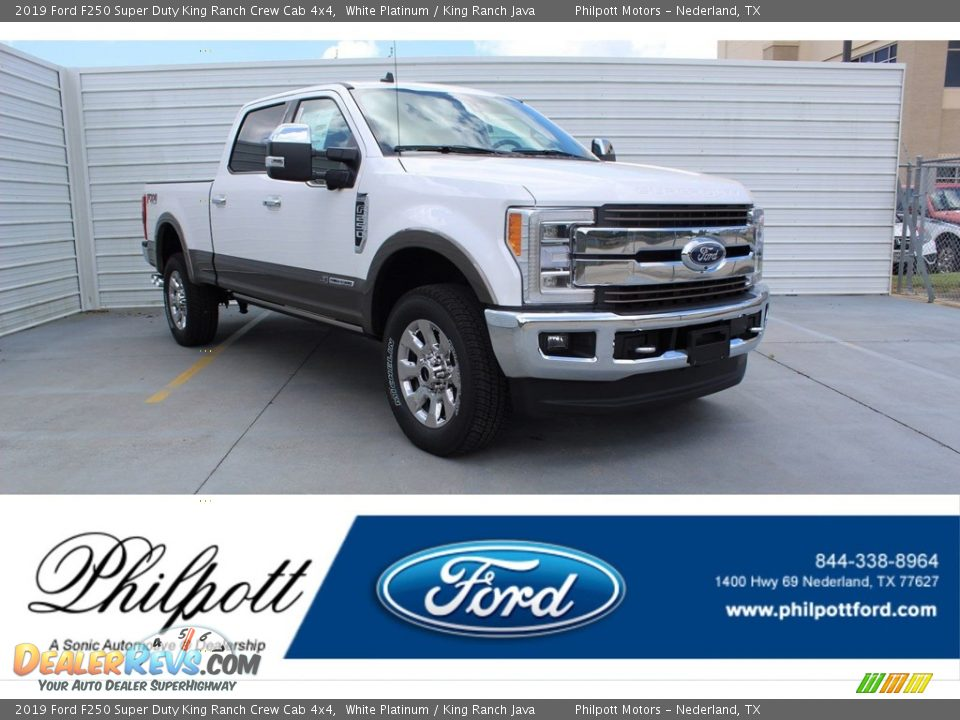 2019 Ford F250 Super Duty King Ranch Crew Cab 4x4 White Platinum / King Ranch Java Photo #1