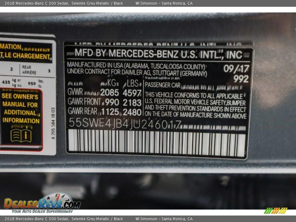 2018 Mercedes-Benz C 300 Sedan Selenite Grey Metallic / Black Photo #36