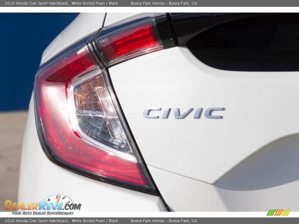 2019 Honda Civic Sport Hatchback White Orchid Pearl / Black Photo #7