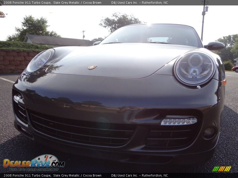 2008 Porsche 911 Turbo Coupe Slate Grey Metallic / Cocoa Brown Photo #2