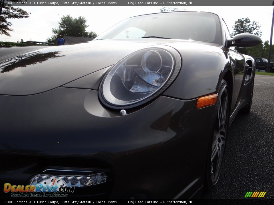 2008 Porsche 911 Turbo Coupe Slate Grey Metallic / Cocoa Brown Photo #10