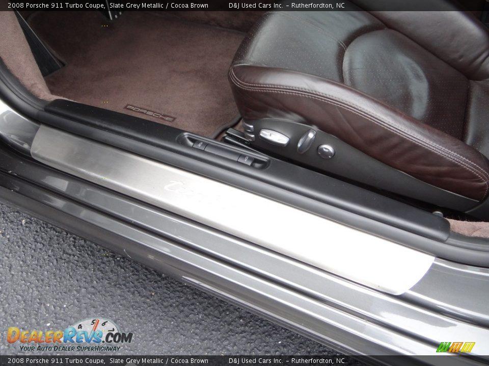 2008 Porsche 911 Turbo Coupe Slate Grey Metallic / Cocoa Brown Photo #26