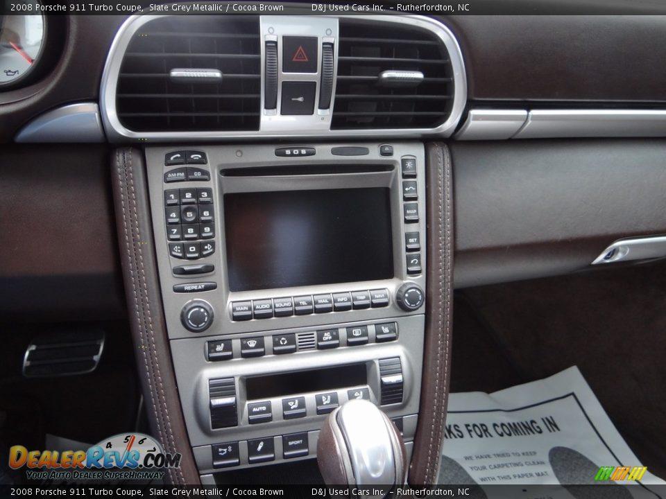 2008 Porsche 911 Turbo Coupe Slate Grey Metallic / Cocoa Brown Photo #35