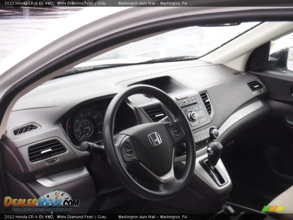 2012 Honda CR-V EX 4WD White Diamond Pearl / Gray Photo #14