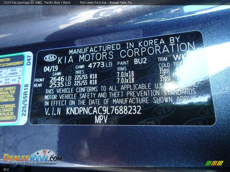 Kia Color Code BU2 Pacific Blue