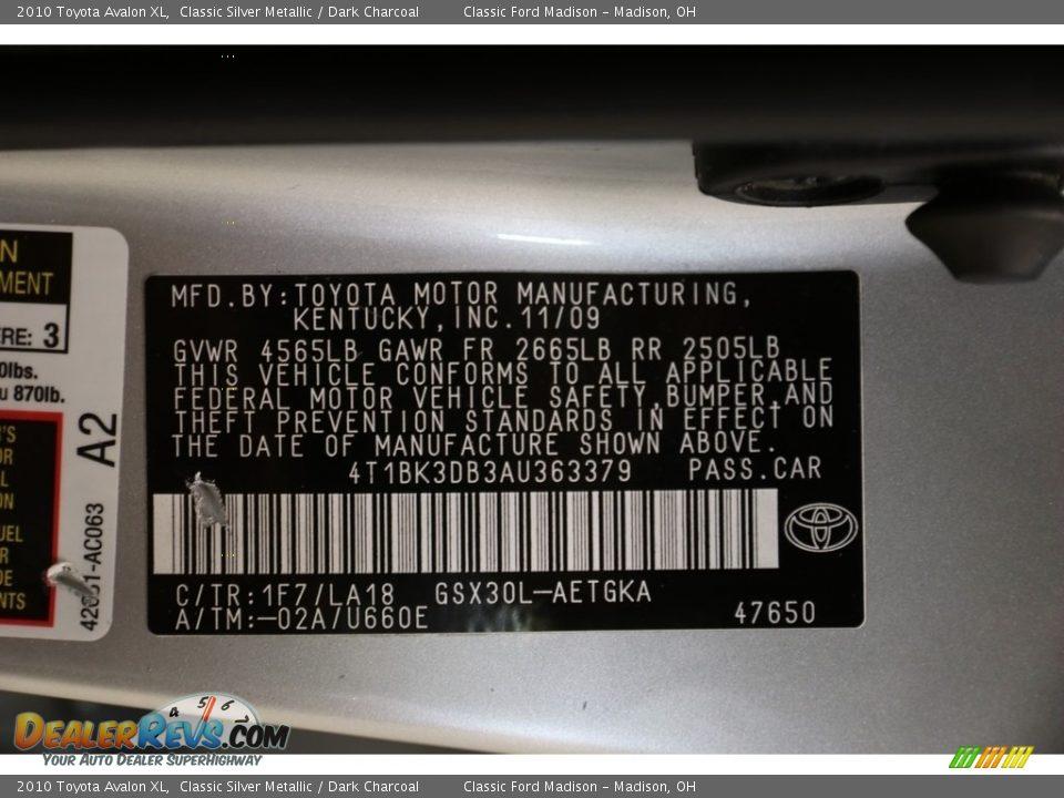 2010 Toyota Avalon XL Classic Silver Metallic / Dark Charcoal Photo #20