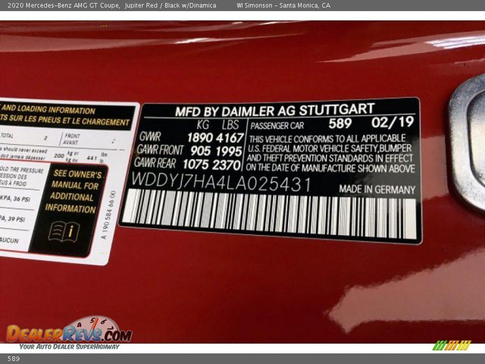 Mercedes-Benz Color Code 589 Jupiter Red
